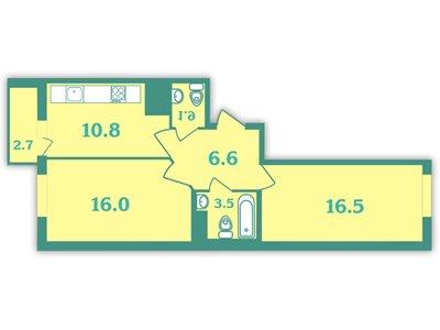 Планировка Двухкомнатная квартира площадью 59.7 кв.м в ЖК «Волна»