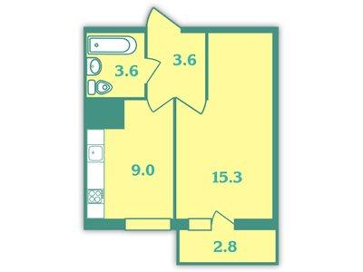 Планировка Однокомнатная квартира площадью 32.8 кв.м в ЖК «Волна»