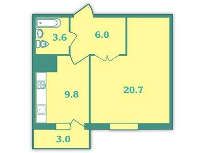 Планировка Однокомнатная квартира площадью 41.7 кв.м в ЖК «Волна»