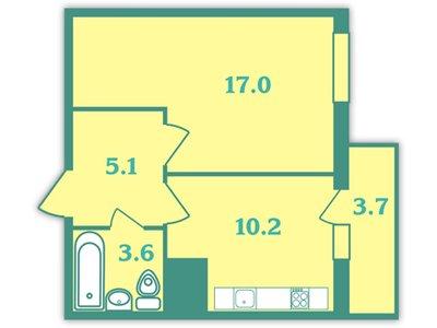 Планировка Однокомнатная квартира площадью 37.5 кв.м в ЖК «Волна»